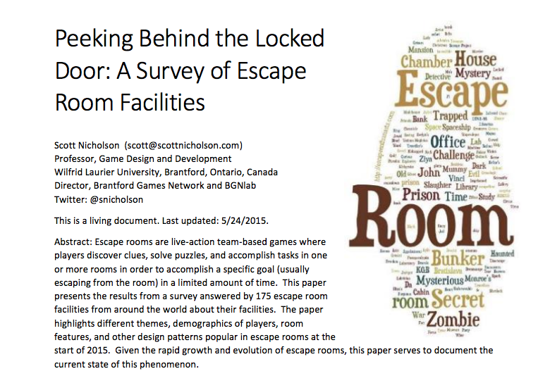 Screenshot Escape Room Research - Scott Nicholson's White Paper 2015