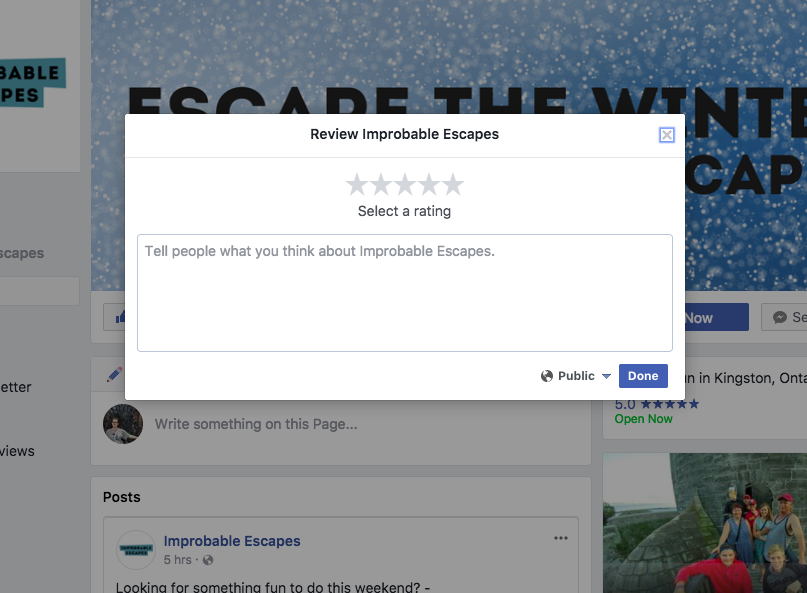 Mini Escape Games - Facebook - Leave Review
